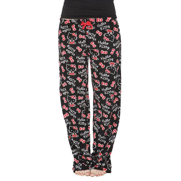 41df06461 Hello Kitty Black Plush Pajama Pants ❤ liked on Polyvore featuring  intimates, sleepwear, pajamas, fuzzy pajamas, pj pants, hello kitty, fuzzy pj  pants and ...