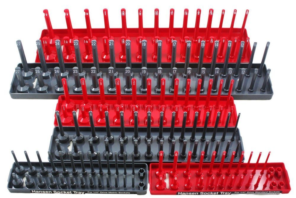 6 piece tool box socket rack tray rail set toolbox organizer storage ...