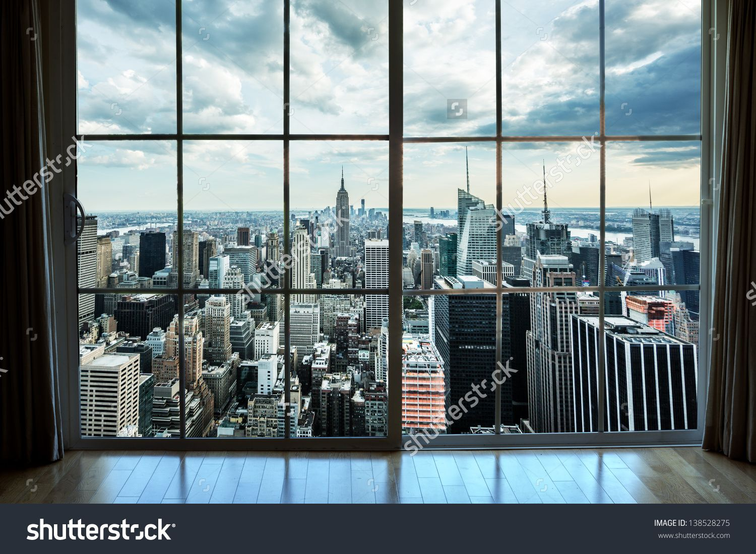 city building windows. View Of Manhattan New York City Skyline Buildings From High Rise Window  Beautiful Expensive Real Estate Overlooking Empire State Building And Skyscrapers