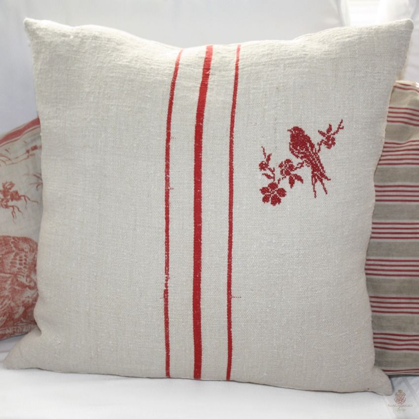 Photo of Antique French Country Grain Sack Pillow with Red Embroidered Bird