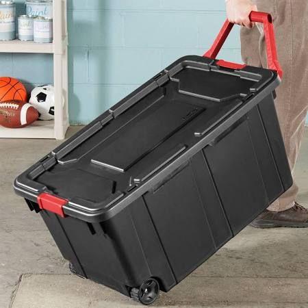 Sterilite 40 Gallon Wheeled Industrial Tote Black Case Of 2