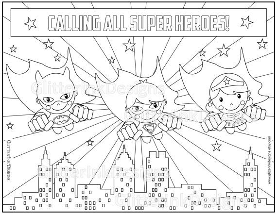 Super Heroes party coloring page with flying Wondergirl