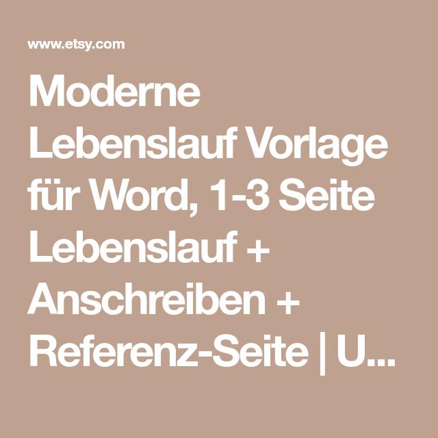 Moderne Lebenslauf Vorlage für Word, 1-3 Seite Lebenslauf + ...