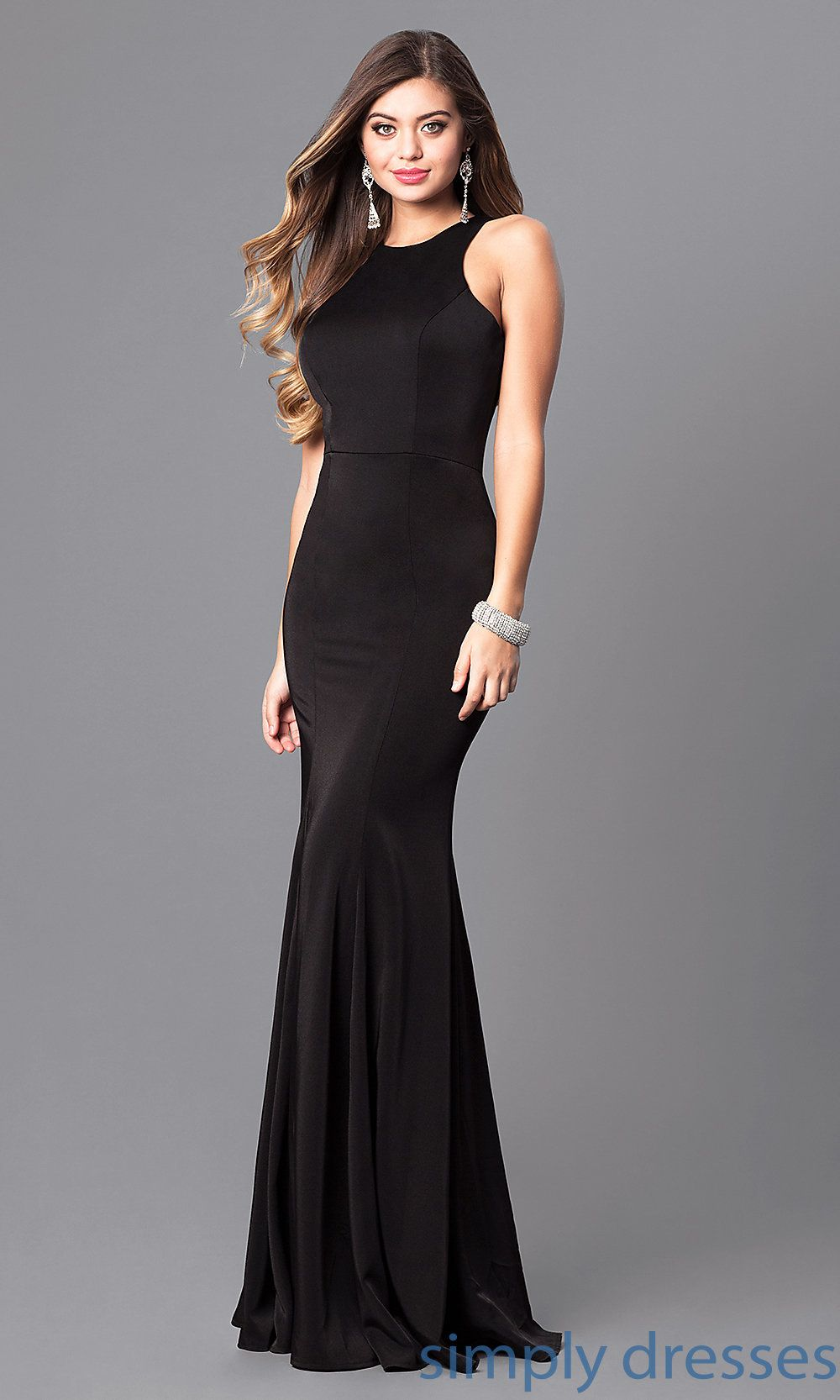 5a3fb241db04e Shop mermaid long formal dresses at Simply Dresses. High-neck evening  dresses under $200 with long mermaid skirts in form-fitting jersey.