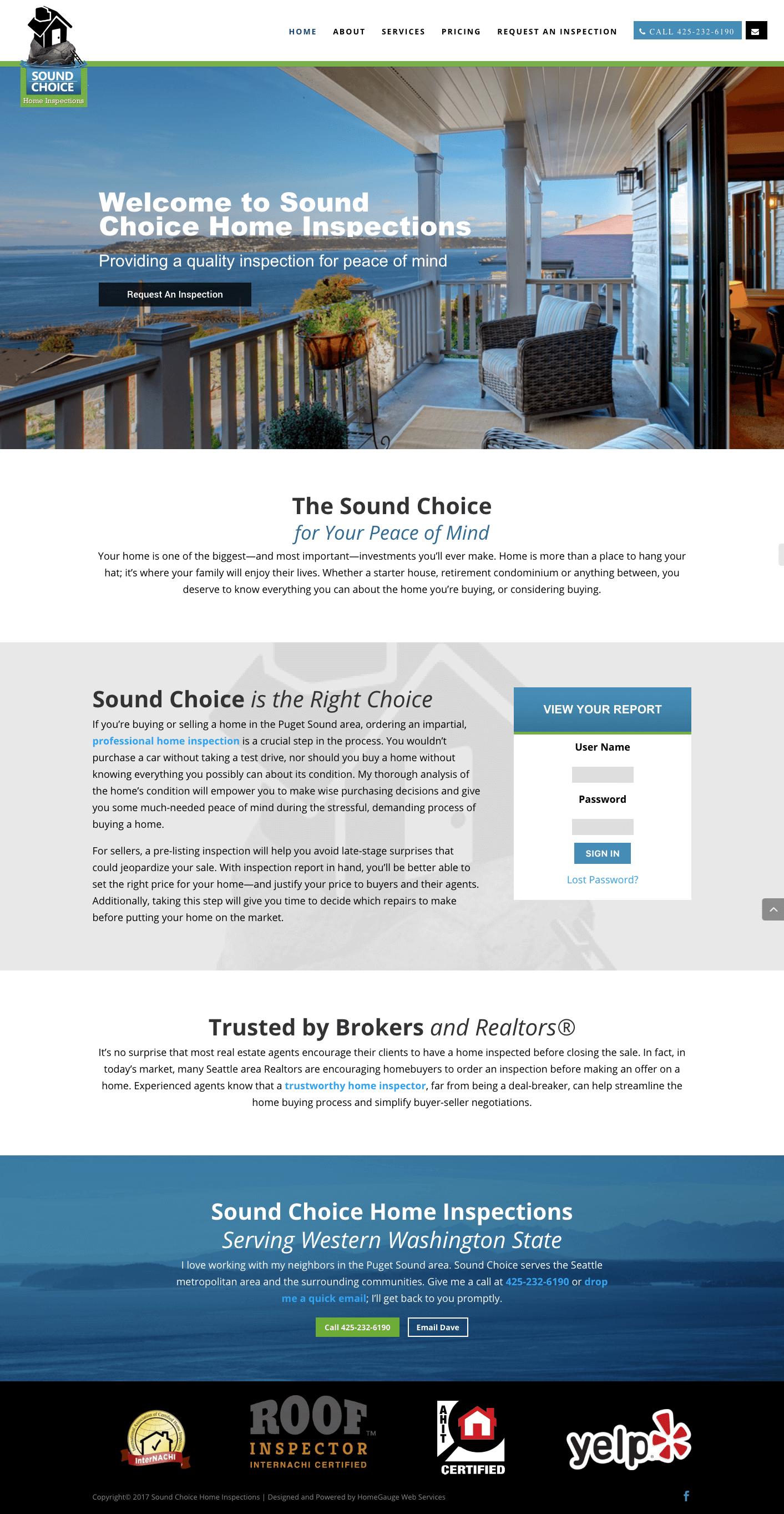 Sound Choice Home Inspections Seattle Washington Puget Sound Divi Wordpress Greenville Website Designer Website Design Design Subscription Box Design