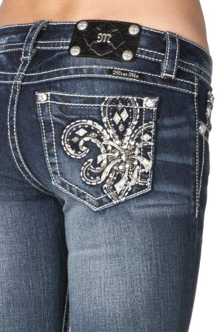 8b40be4cdacd9 Amazon.com  Miss Me Jeans for Women-Fleur-De-Lis Bootcut  Pants(Style JP5581B)  Clothing For A. Size 28