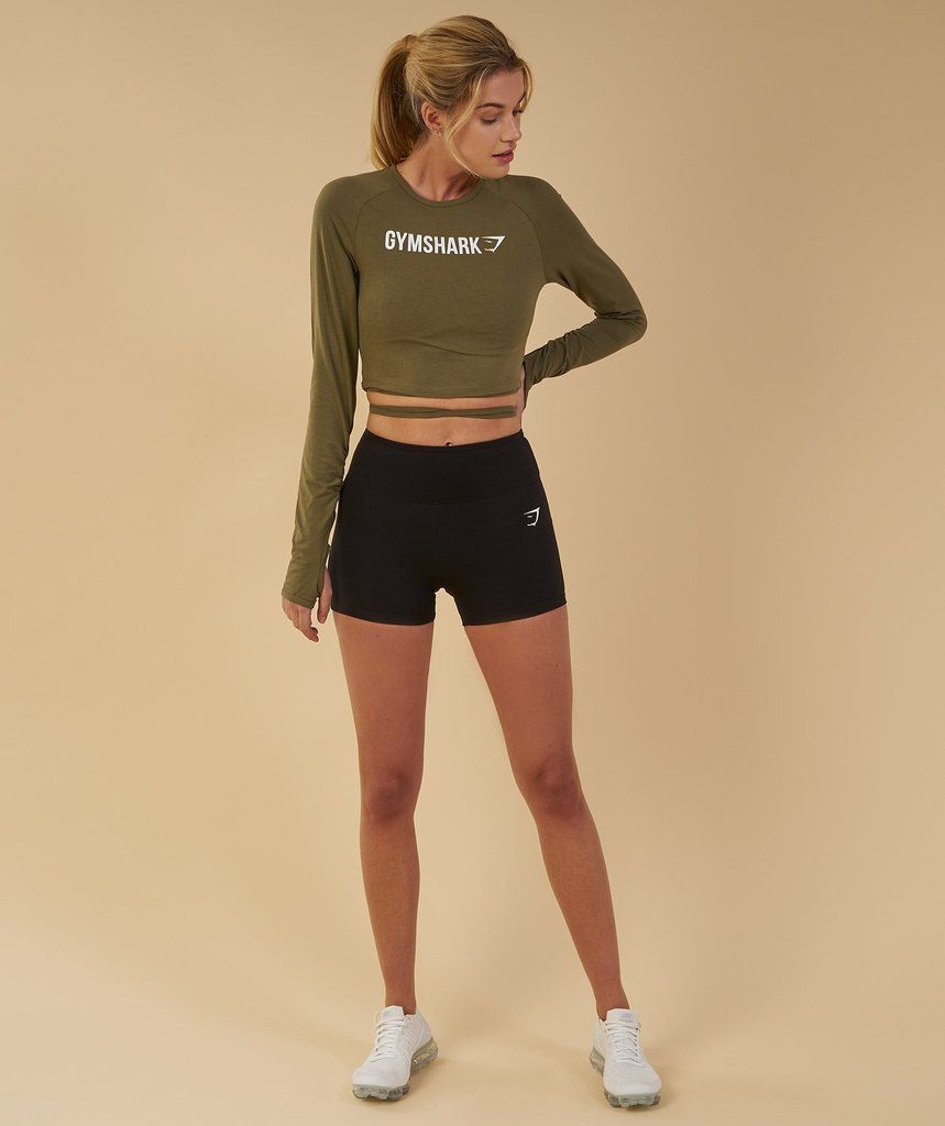beaea243c9 Gymshark Long Sleeve Ribbon Crop Top - Khaki
