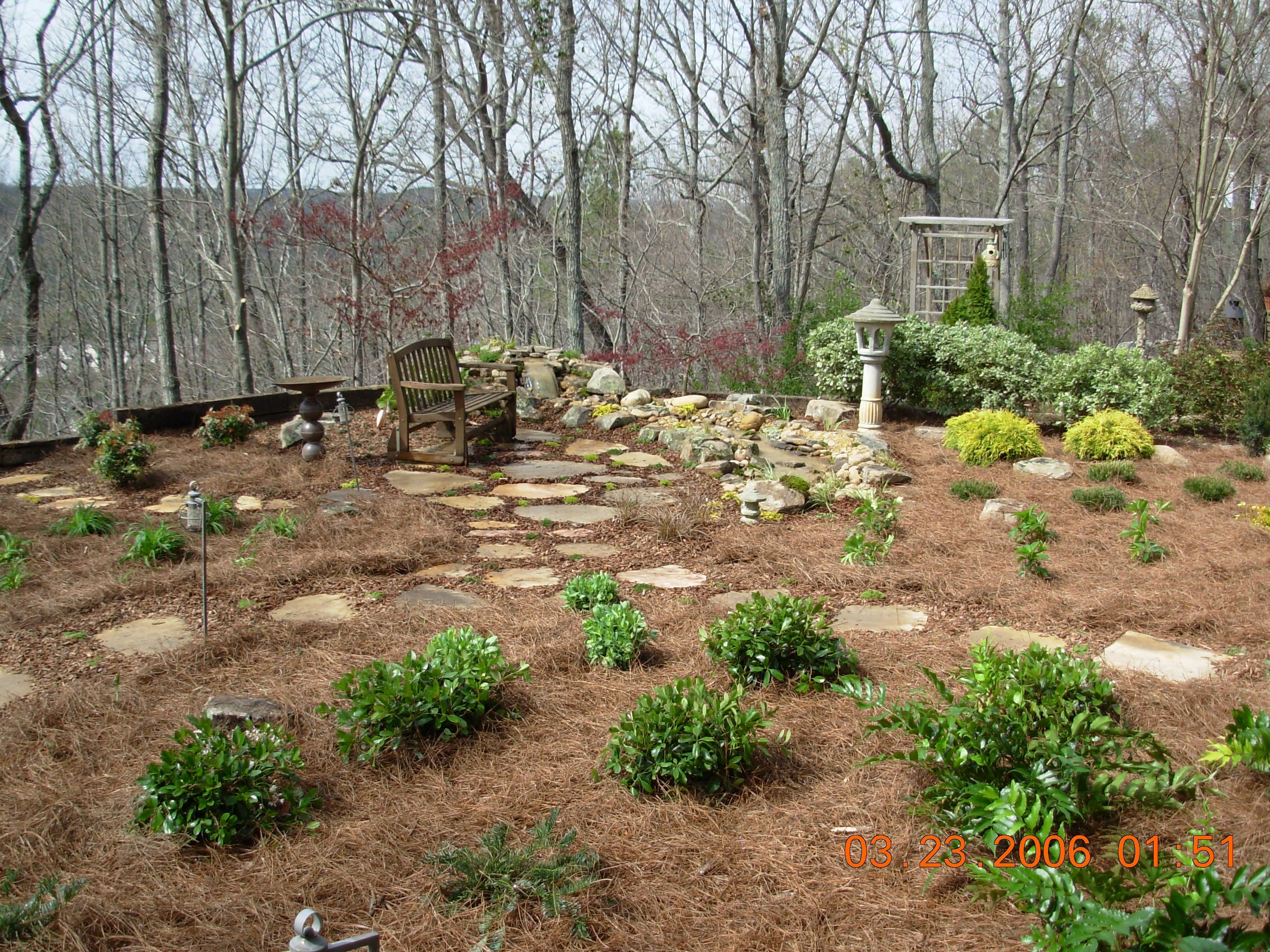 Full Landscape Design And Installation   Rock Work, Water Feature,  Perennials And Shrub Installation