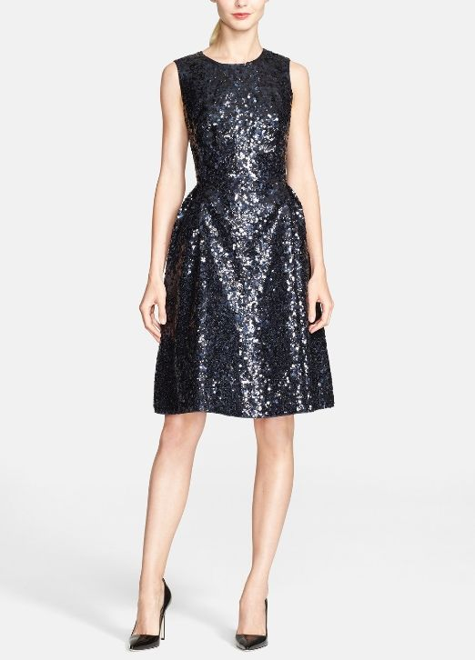 Party dress! Love this black sequin Kate Spade fit & flare dress ...