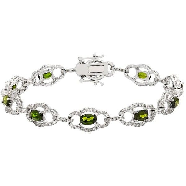 Sterling Silver Chrome Diopside & White Zircon Bracelet ($925) ❤ liked on Polyvore featuring jewelry, bracelets, green, sterling silver jewellery, polish jewelry, zircon jewelry, sterling silver jewelry and white bangle