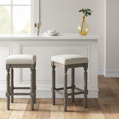 Erving Wood And Upholstered Backless Counter Stool Taupe