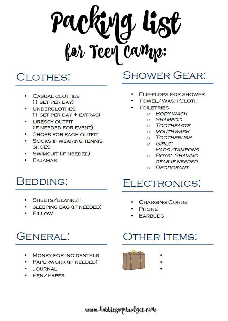 Packliste für Teen Summer Camp #essentialsforcamping