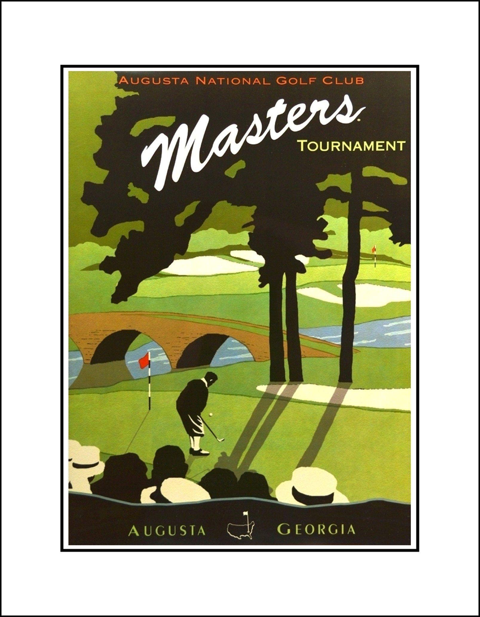 Vintage Masters Golf Illustration Wall Art Office Poster Mens Art Print Gift For Men Gift For Her Gift For Women Golf Art Golf Poster Illustration Wall Art