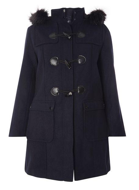 Navy Blue Pear Fit Duffle Coat