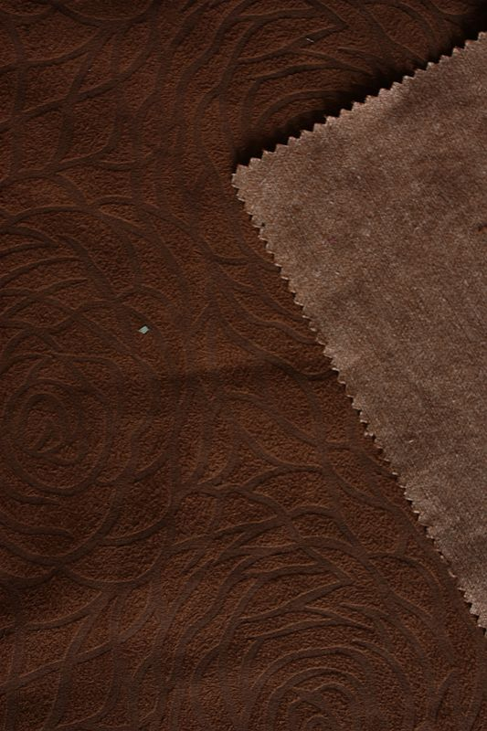 Cotton Suede Fabric With Bronzed And Embossed Flower Style