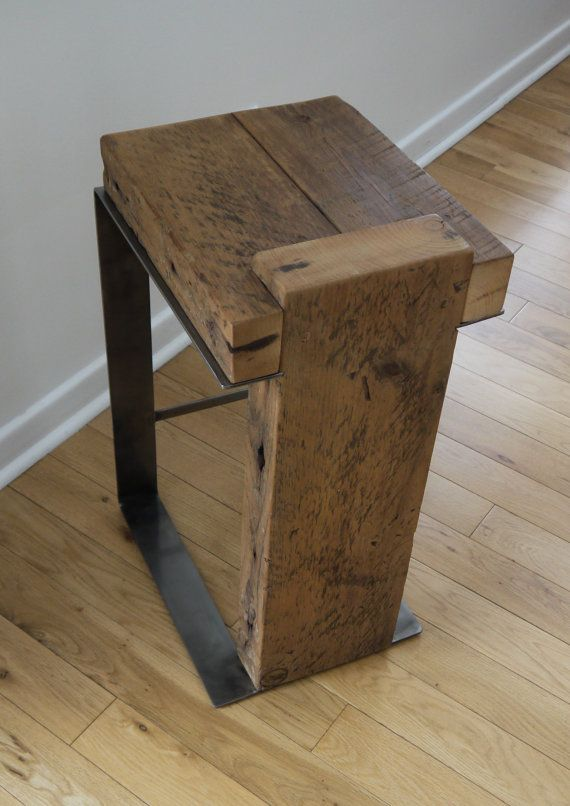 Rustic Barstool Reclaimed Wood Bar Stool Industrial Bar Stool