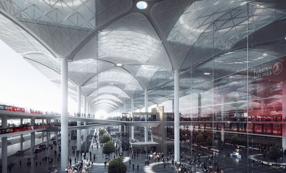 Details Emerge On World S Largest Airport Terminal In Istanbul Istanbul New Airport Airport Design Istanbul Airport