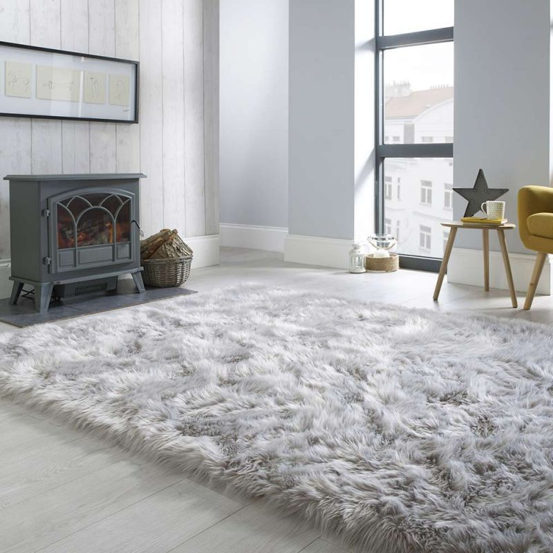Fluffy Sheepskin Grey Rug Land Of Rugs In 2020 Rugs In Living