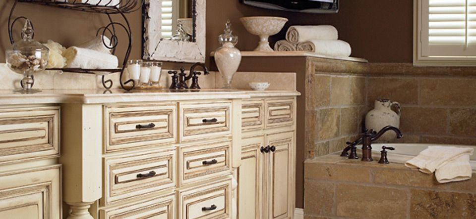 Painted and glazed maple cabinets are just what's needed ... on Bathroom Ideas With Maple Cabinets  id=76507