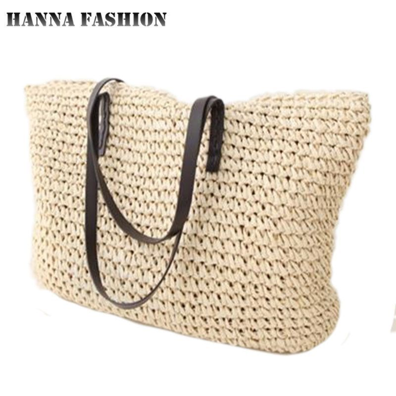 24316159daf5 Hot Simple hollow beach bags women straw bag knitted big tote bags ...
