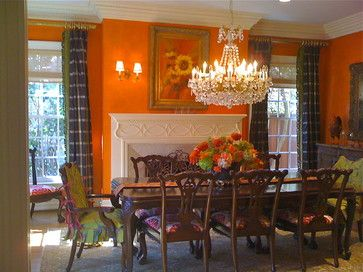 In Dallas Texas  Traditional With A Twist Orange Walls With A Gorgeous Orange Dining Room Table Inspiration Design