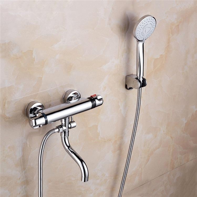 浴室シャワー混合水栓 壁付サーモスタット混合栓 バス水栓 浴槽蛇口 クロム 浴室 シャワー 水栓 サーモスタット