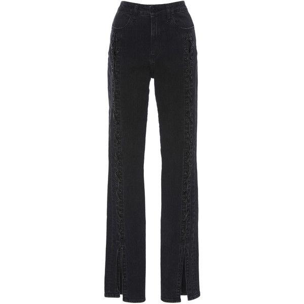 Jonathan Simkhai Denim Lace Up Stove Pipe Jean (1.496.385 COP) ❤ liked on Polyvore featuring jeans, jonathan simkhai, pants, calças, black, high waisted denim jeans, denim jeans, high waisted denim skinny jeans and high-waisted jeans