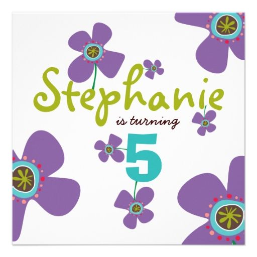 Fun Daisy Pop Purple Photo Birthday Invitation