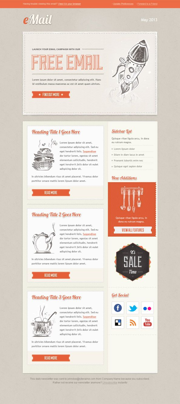Vintage Email Template Email Newsletter Clean Layout And Color