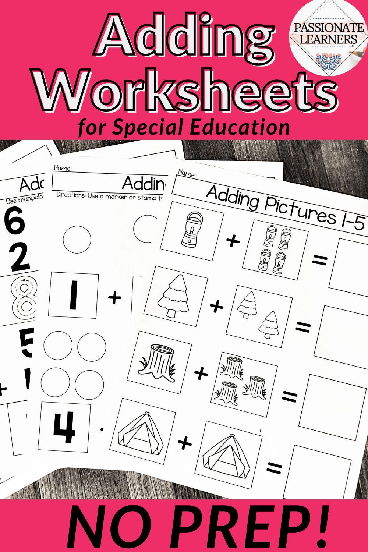 Single Digit Addition Sums 1 10 Leveled Worksheets Special Education Special Education Worksheets Special Education Teaching Addition [ 1500 x 1000 Pixel ]