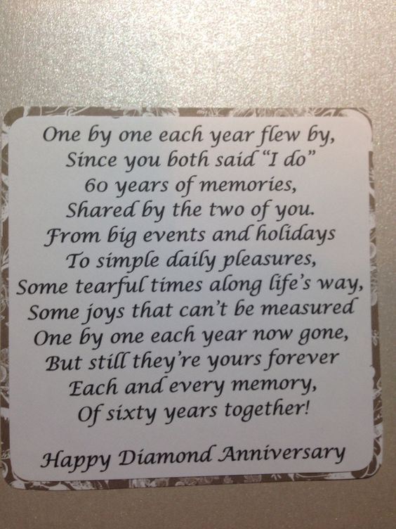60th Anniversary Party Ideas Of Course This Poem Could Be Used