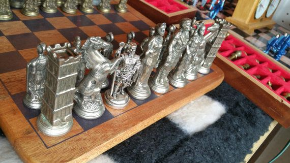 Solid Metal Chess Set Vikings Vs Romans 32 Brass And Pewter Heavy And Large Chess Pieces 3 5 Inch Kings Metal Chess Set Chess Set Solid Metal