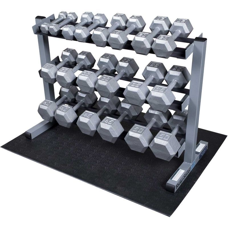 Body Solid GDR363 Dumbbell Rack And Set, Silver