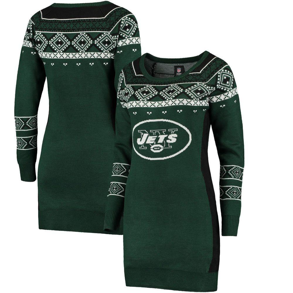34952532 Women's New York Jets Klew Green Big Logo Ugly Sweater Dress   New ...