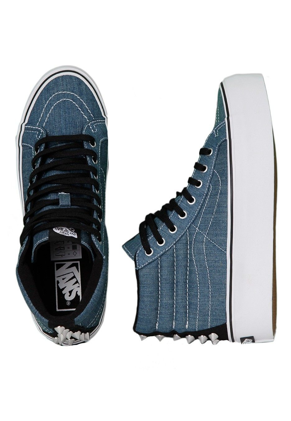 8e38accf71de Vans - SK8-Hi Platform Studded Blue True White - Girl Shoes - Impericon.com  Worldwide
