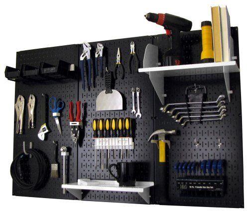 Pegboard Organizer Wall Control 4 Ft Metal Pegboard Standard Tool Storage Kit With Black Toolboard And White Access Metal Pegboard Black Pegboard Storage Kits