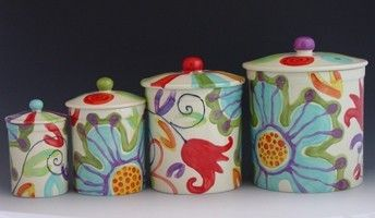 Colorful Ceramic Canisters Kitchen Canister Set Flour And Etsy