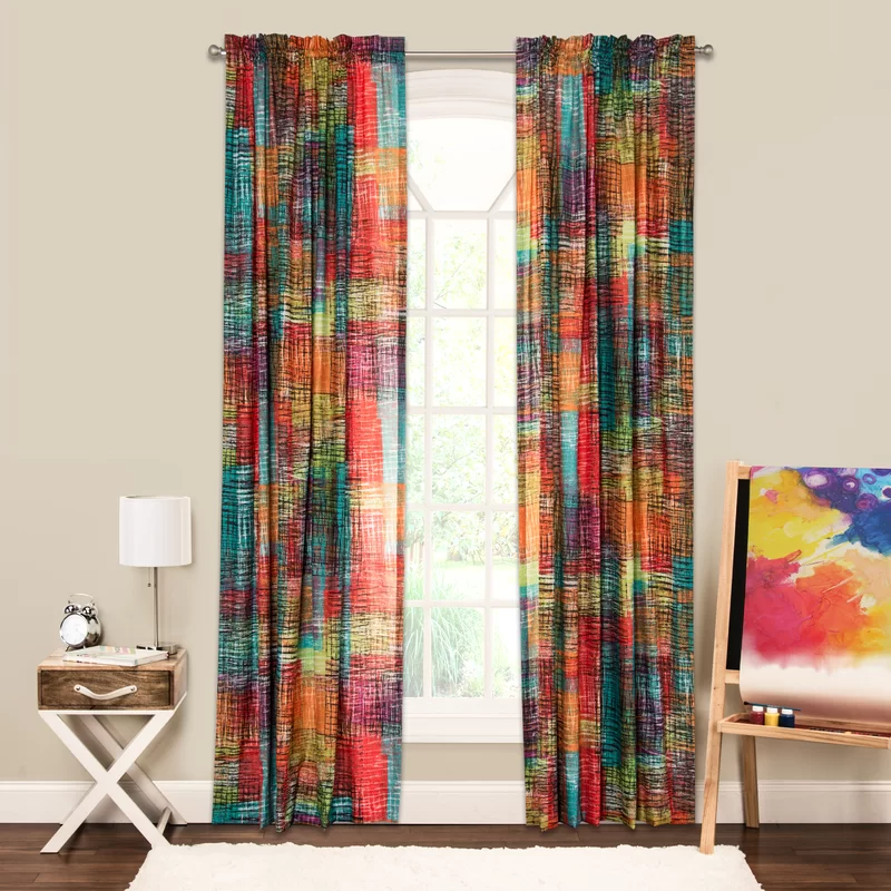 Crayola Etch Multi Color Abstract Semi Sheer Rod Pocket Single Curtain Panel Panel Curtains Curtains Sheer Curtain Panels
