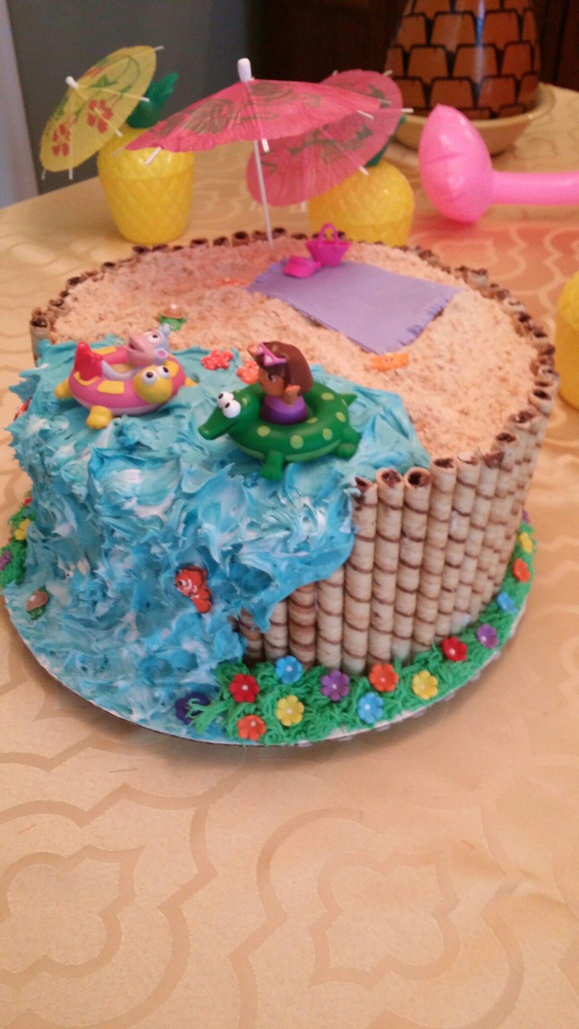 Dora Beach Party Cake Cake Party Cakes 70th Birthday