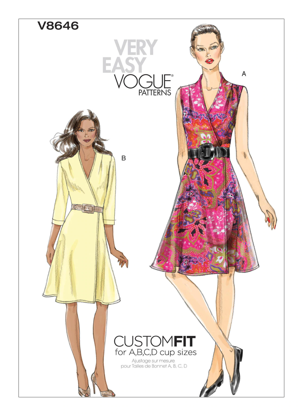 V8646 Wrap Dress Pattern Vogue Patterns Simple Dress Pattern [ 1375 x 1000 Pixel ]