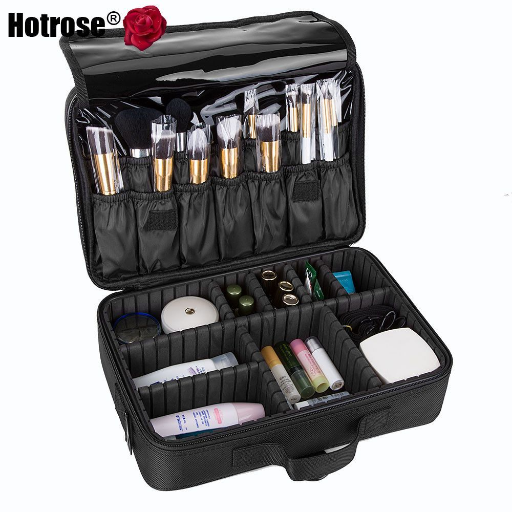 3b2bc8135ea1 Makeup Train Case 3 Layers Cosmetic Organizer Beauty Artist Storage Brush  Box for Brush Set and Cosmetics with Shoulder Strap  style  fashion   rippedjeans ...
