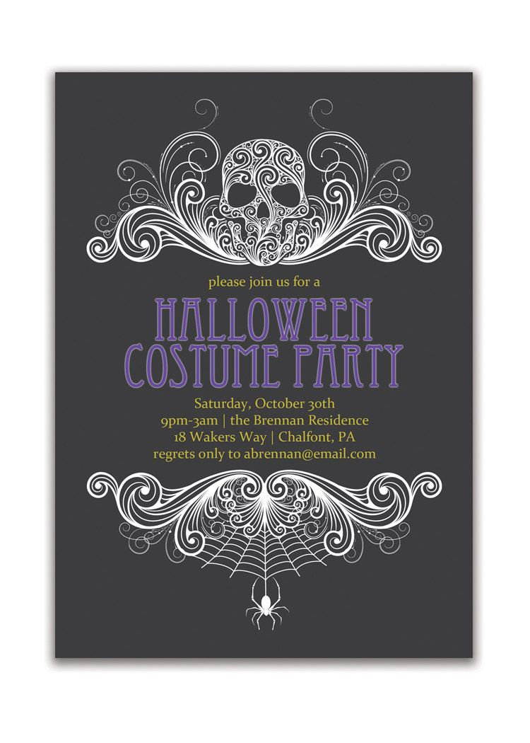 Halloween party invitation adult costume party invitation gothic halloween party invitation adult costume party invitation gothic skull spider grown up invitation diy digital or stopboris Choice Image