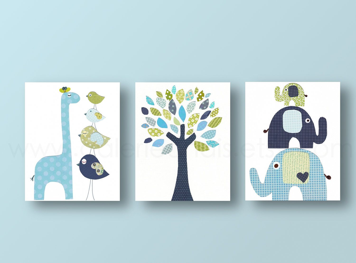 Boys Nursery art prints baby nursery decor nursery art Bird elephant tree  giraffe blue green navy Set of 3 prints