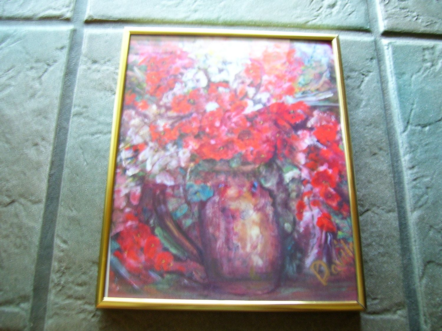 New rustic red and white floral print from Texas Artist framed under ...