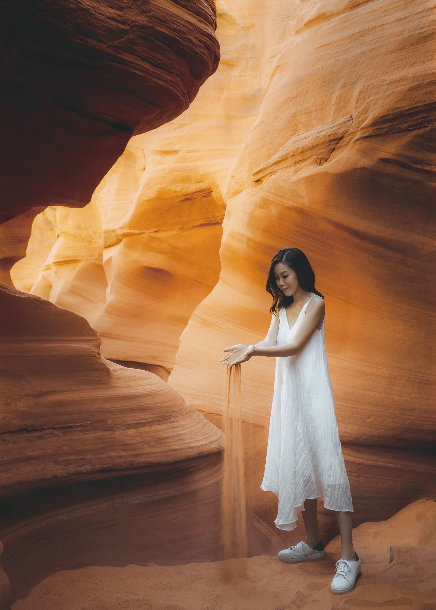 61884b6c8ed Arizona must visit top 5 Antelope Canyon Must visit Lifestyle fashion  travel blogger Jenny Tsang of Tsangtastic wearing white dress and white  sneakers in .