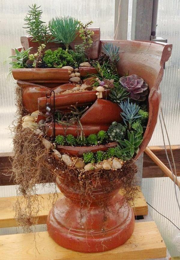 Cr atif am nagement paysager plantation navires bris s id es de bricolage cailloux succulentes - Idee bricolage jardin ...
