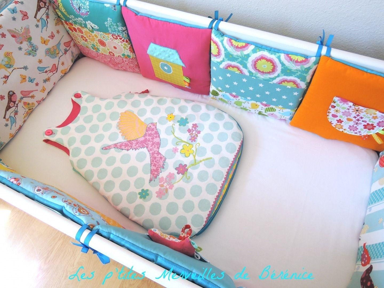 tour de lit b b complet gigoteuse 0 6 mois th me oiseaux et fleurs multicolores linge de. Black Bedroom Furniture Sets. Home Design Ideas