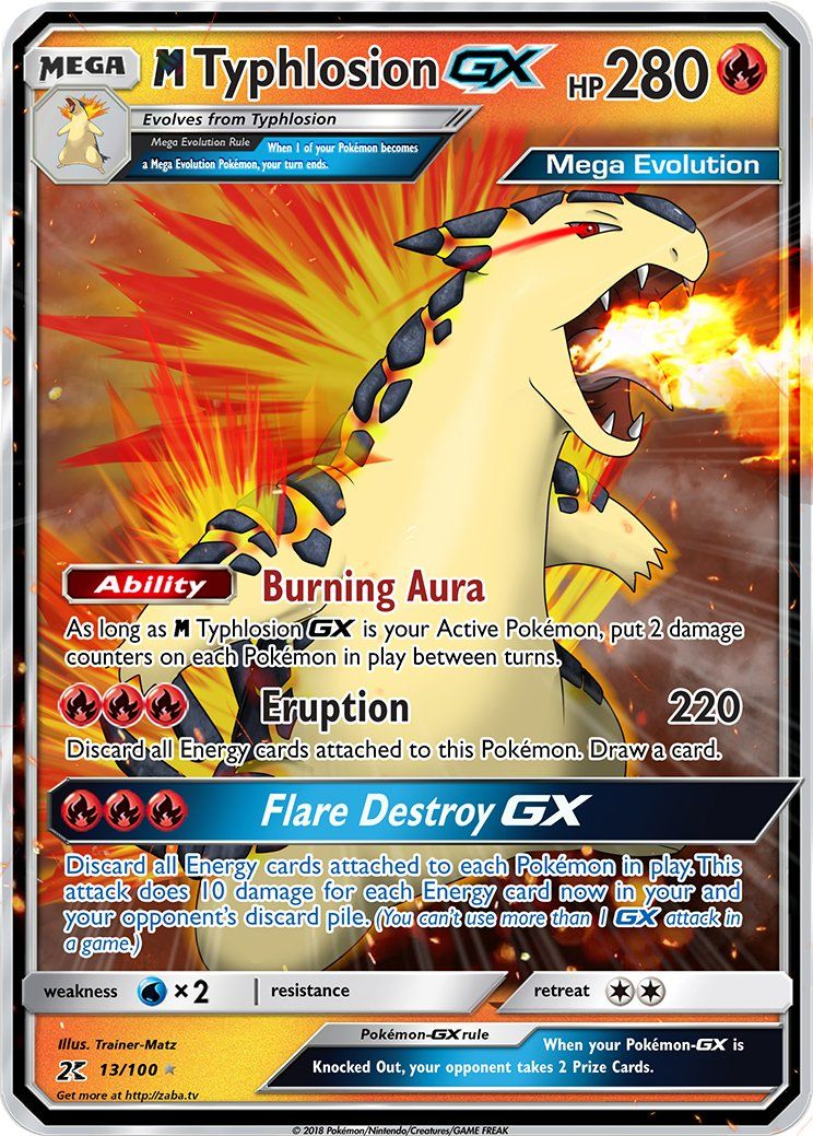 Mega Typhlosion Gx Custom Pokemon Card Carte Pokemon Carte