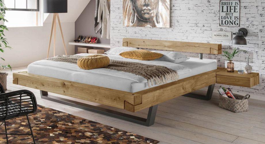 Echtholz Balkenbett Aus Wildeiche In Schwebeoptik Arsos Bett Massivholz Bett Eiche Modernes Mobeldesign
