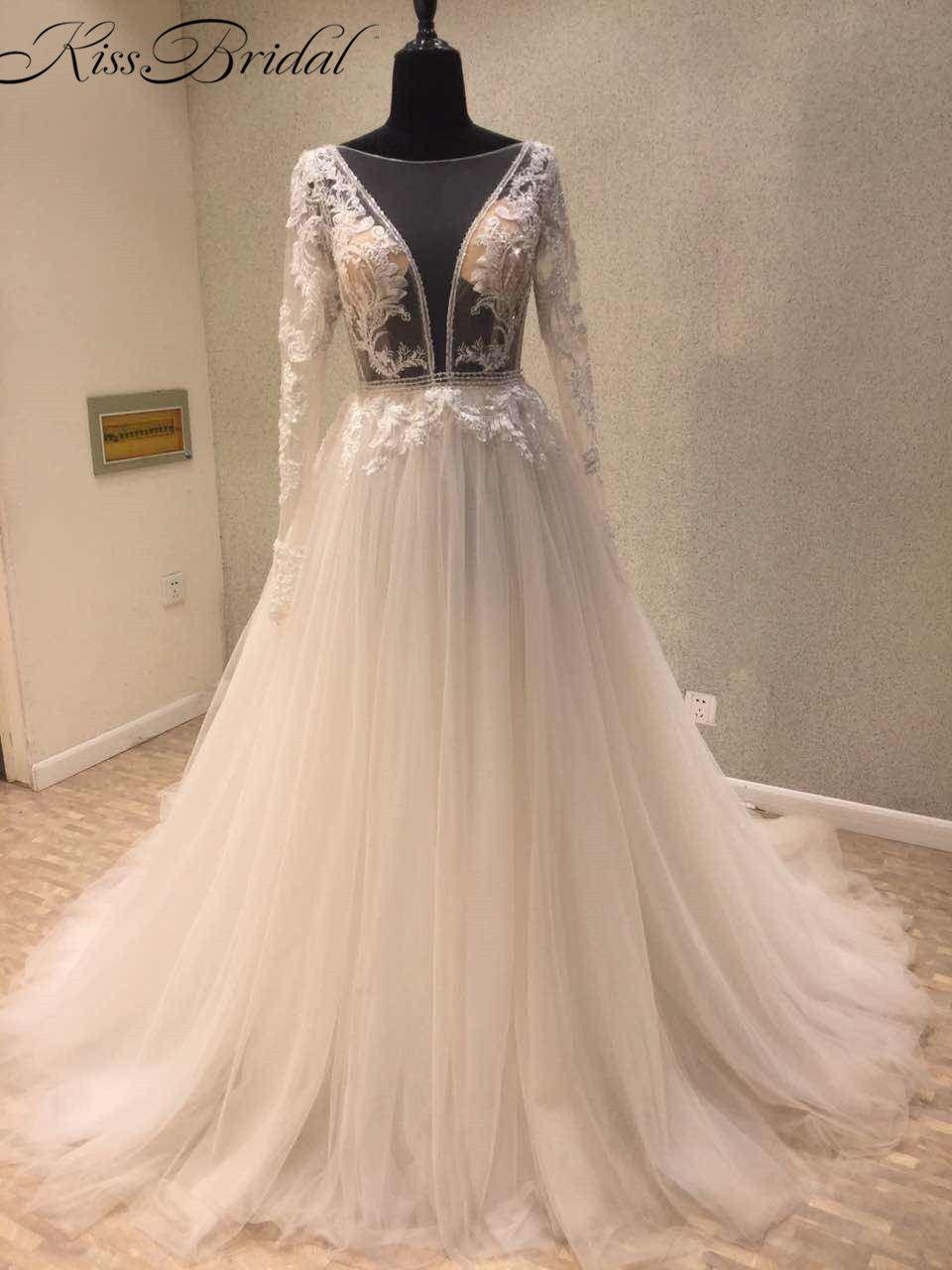 New elegant aline wedding dresses tulle backless illusion neckline